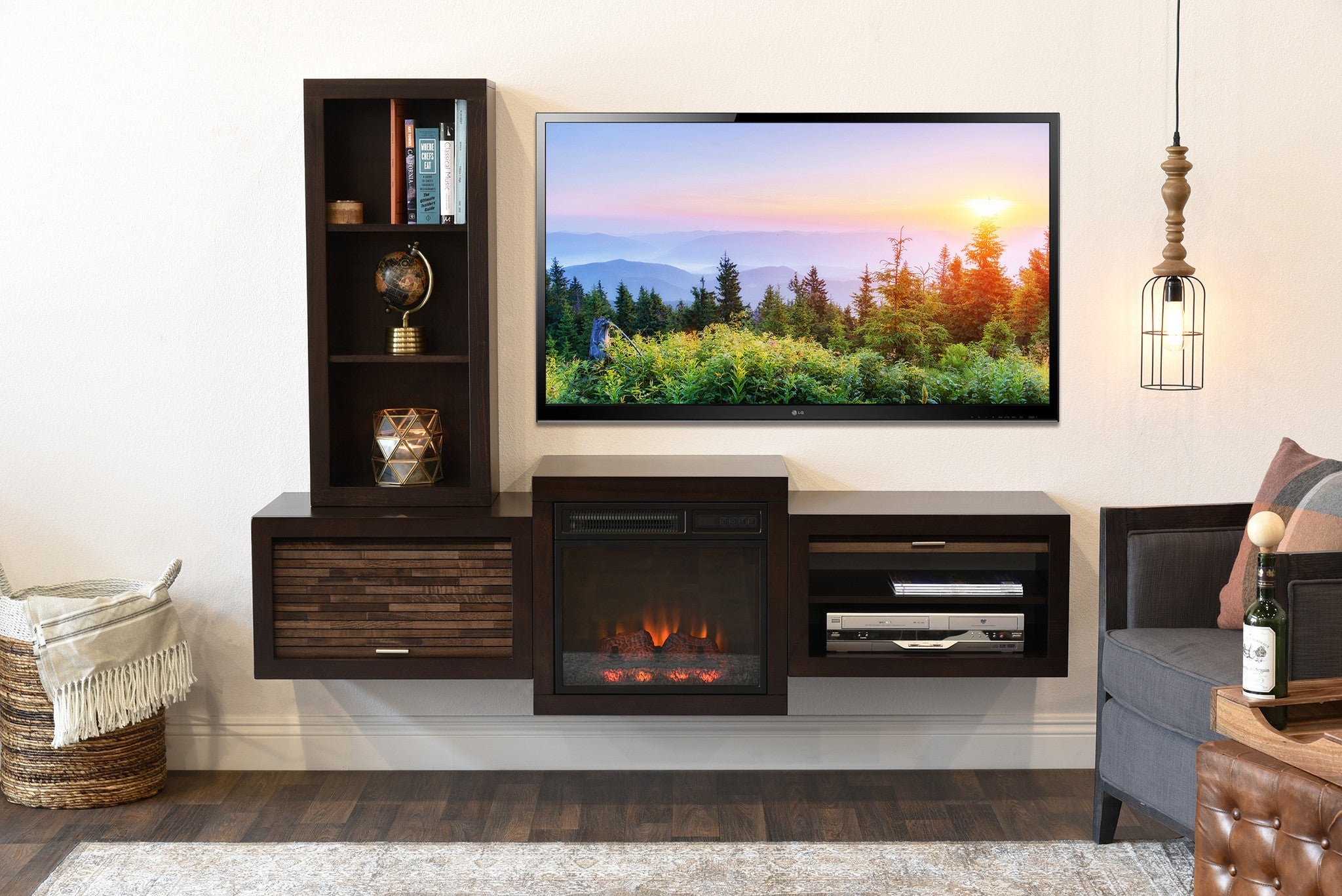 Floating Wall Mount Tv Stand With Fireplace And Bookcase Eco Geo Espresso