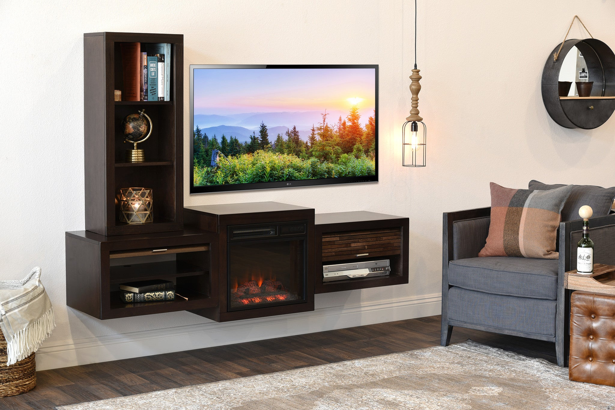living room mounted tv floating wall mount tv stand with fireplace and bookcase 15392