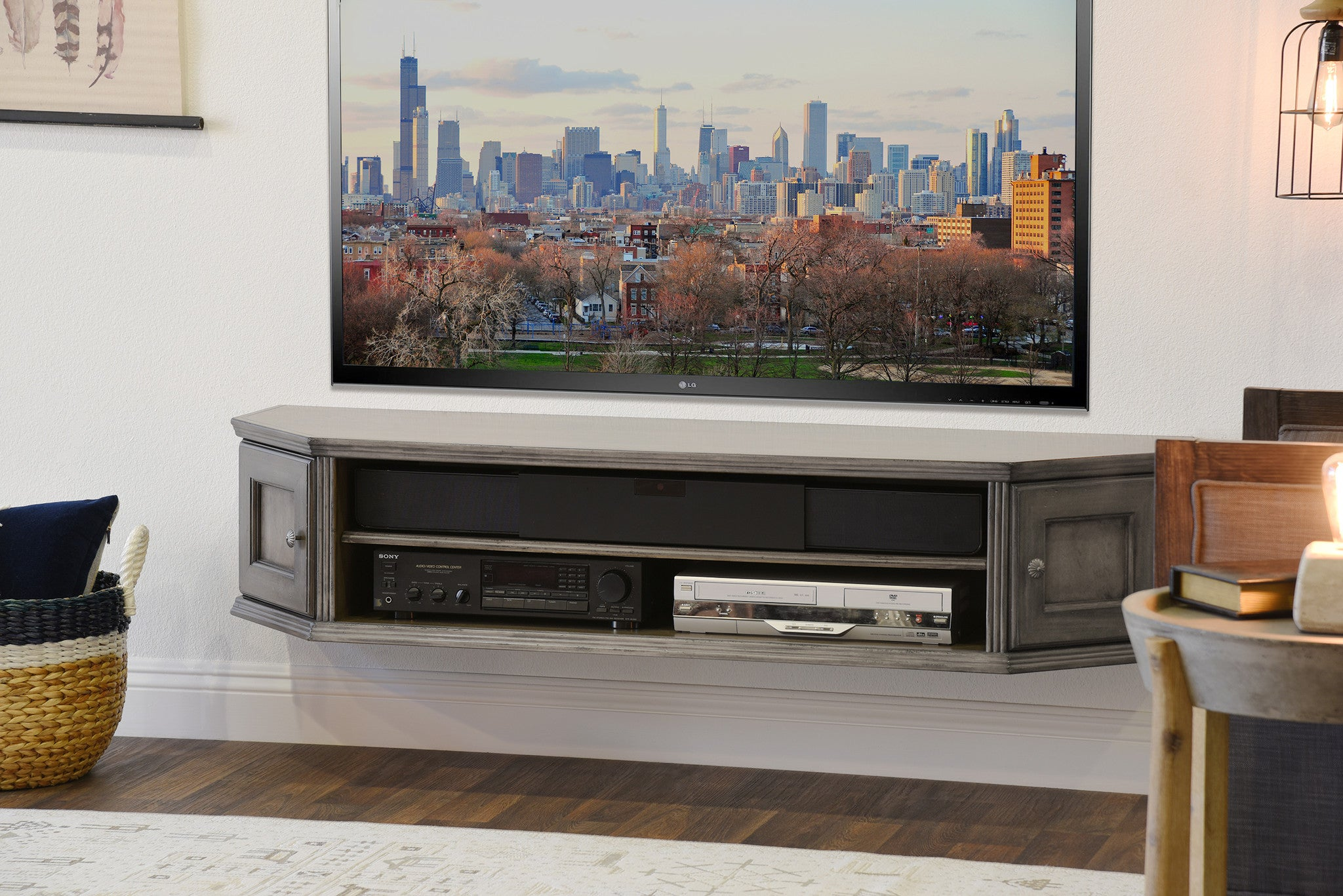French Cottage Transitional Floating TV Stand Console - Vintage ...