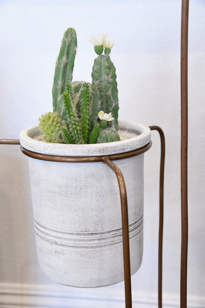 Set Of 3 Southwest Copper Finish Plant Stands With White