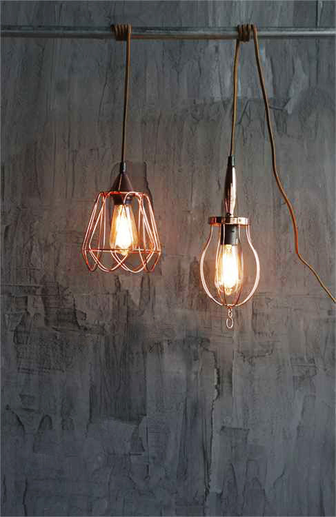 Copper Worklight Industrial Modern Plug-In Pendant