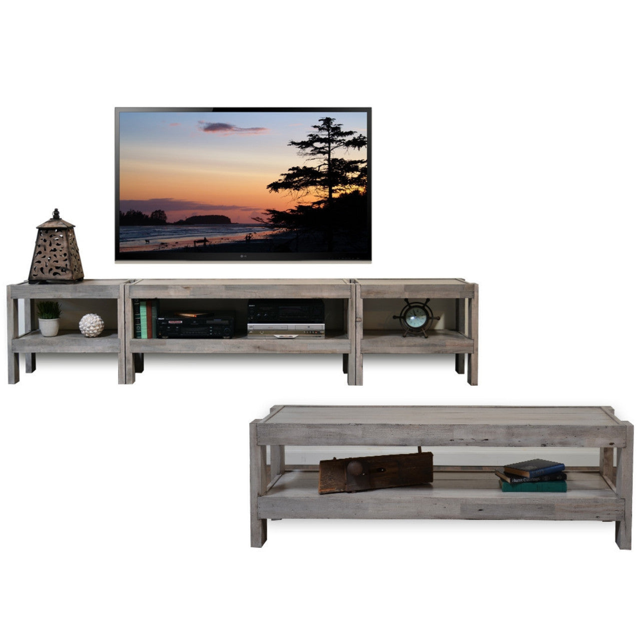 Exceptional Coastal Gray Beach House TV Stand Entertainment Center U0026 Coffee Table    PresEARTH Driftwood