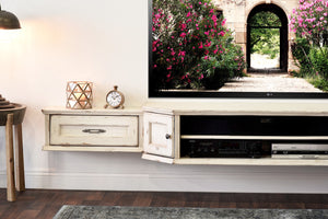 French Farmhouse Shabby Chic Antique Cottage White Floating TV Stand Wall Mount Entertainment Center - Vintage - 3 Piece