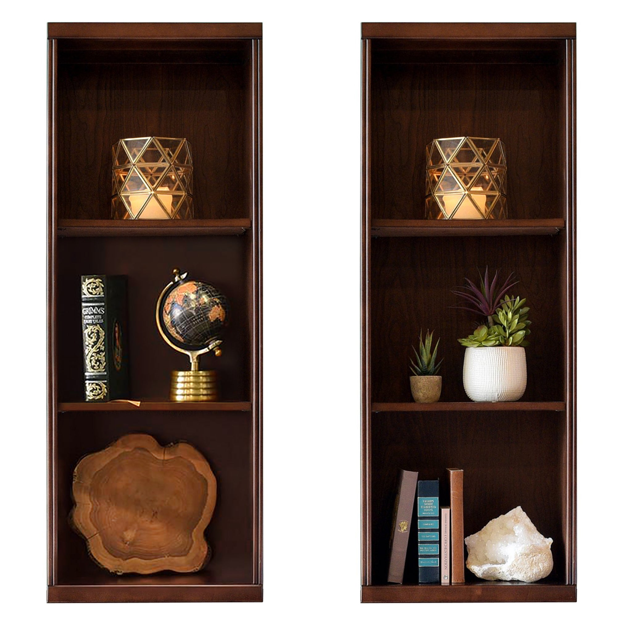 Curve Mocha Bookcases - Set of 2