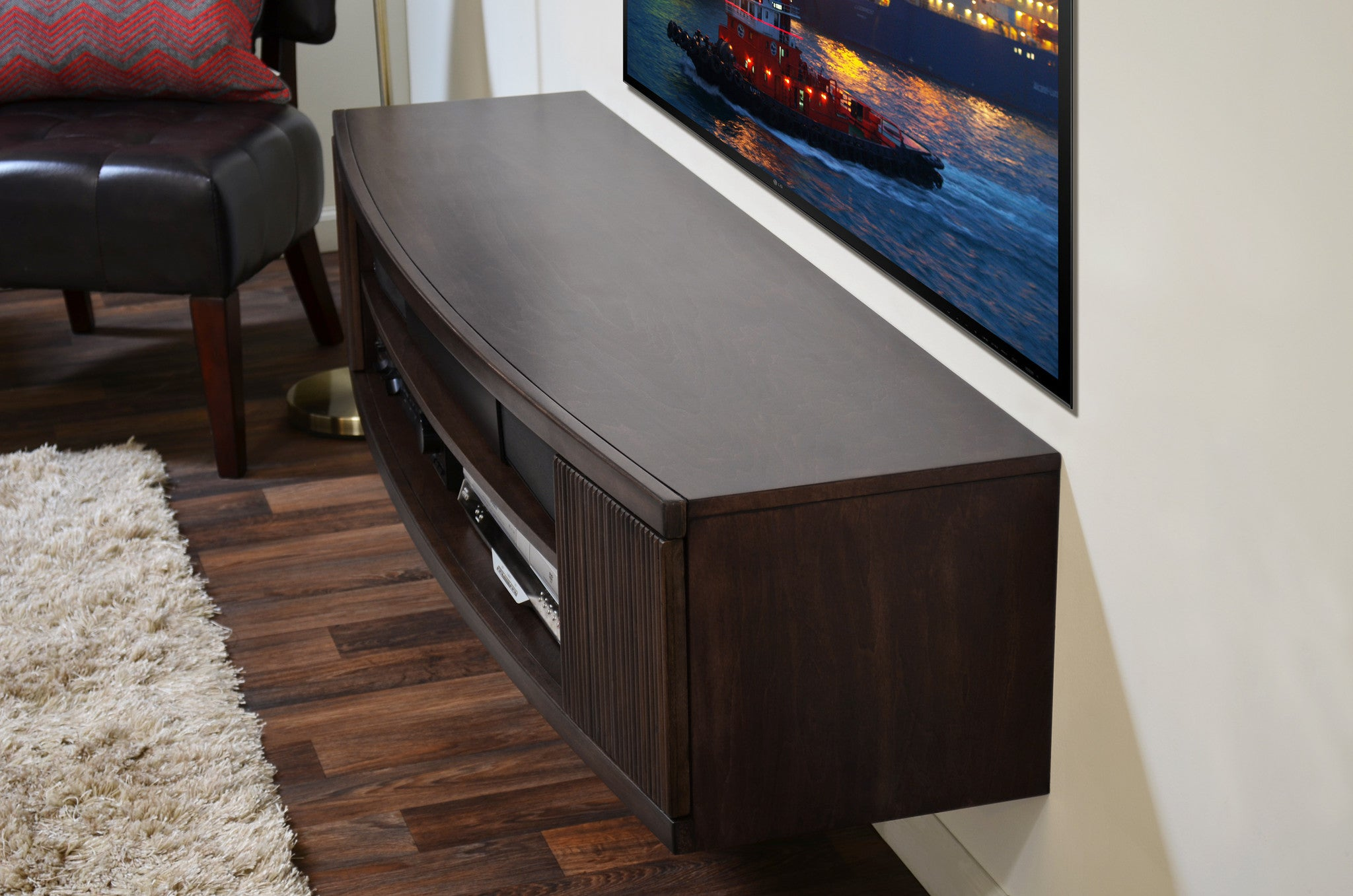 Curved Wall Mount TV Stand - The Curve - Espresso - OB 30% OFF!