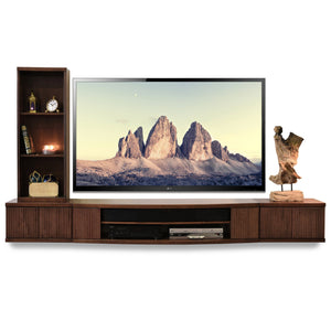 Floating TV Stand Entertainment Center Console - Curve Mocha - 3 Piece + Bookcase