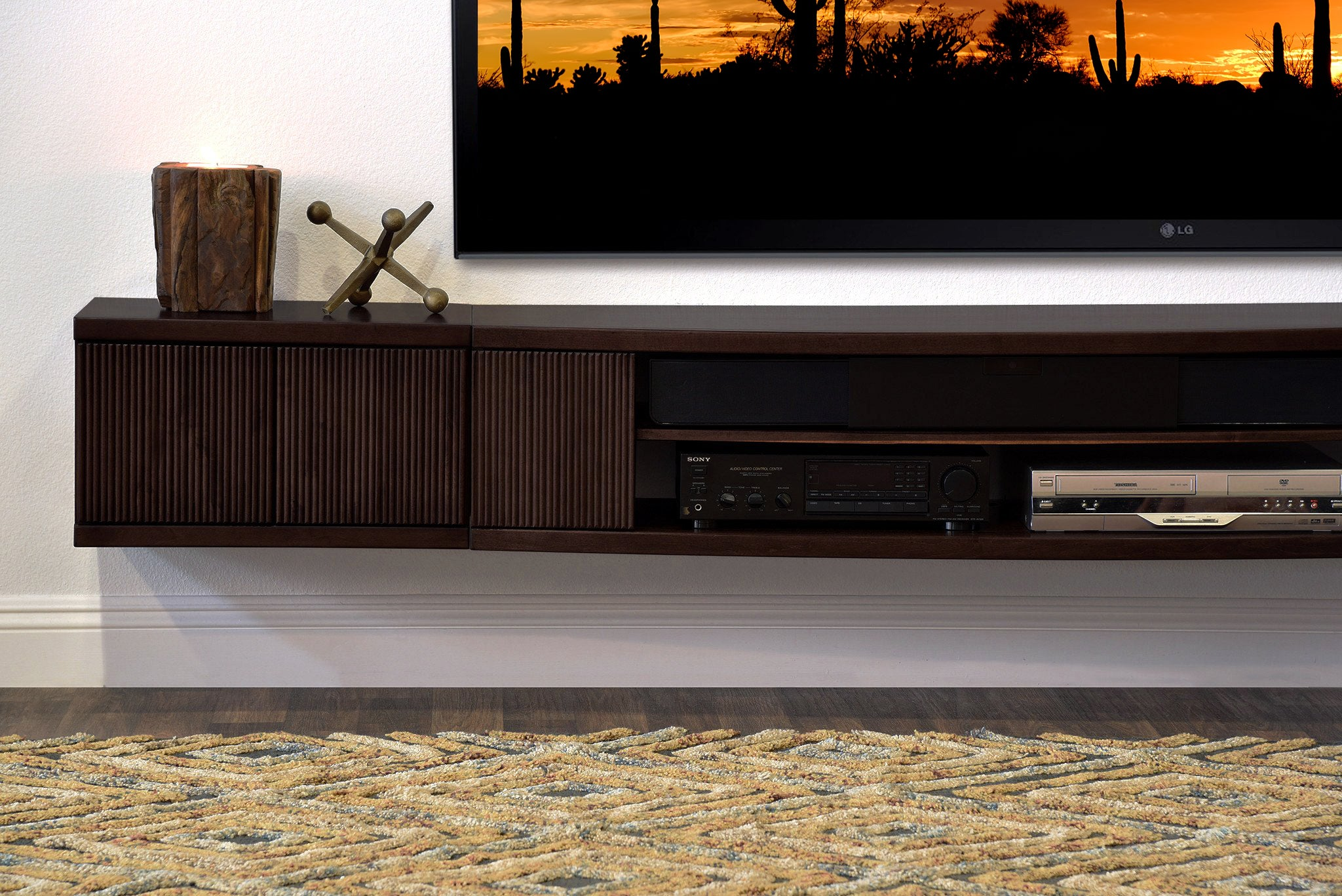 Floating TV Stand Wall Mount Entertainment Center - Curve  - Espresso