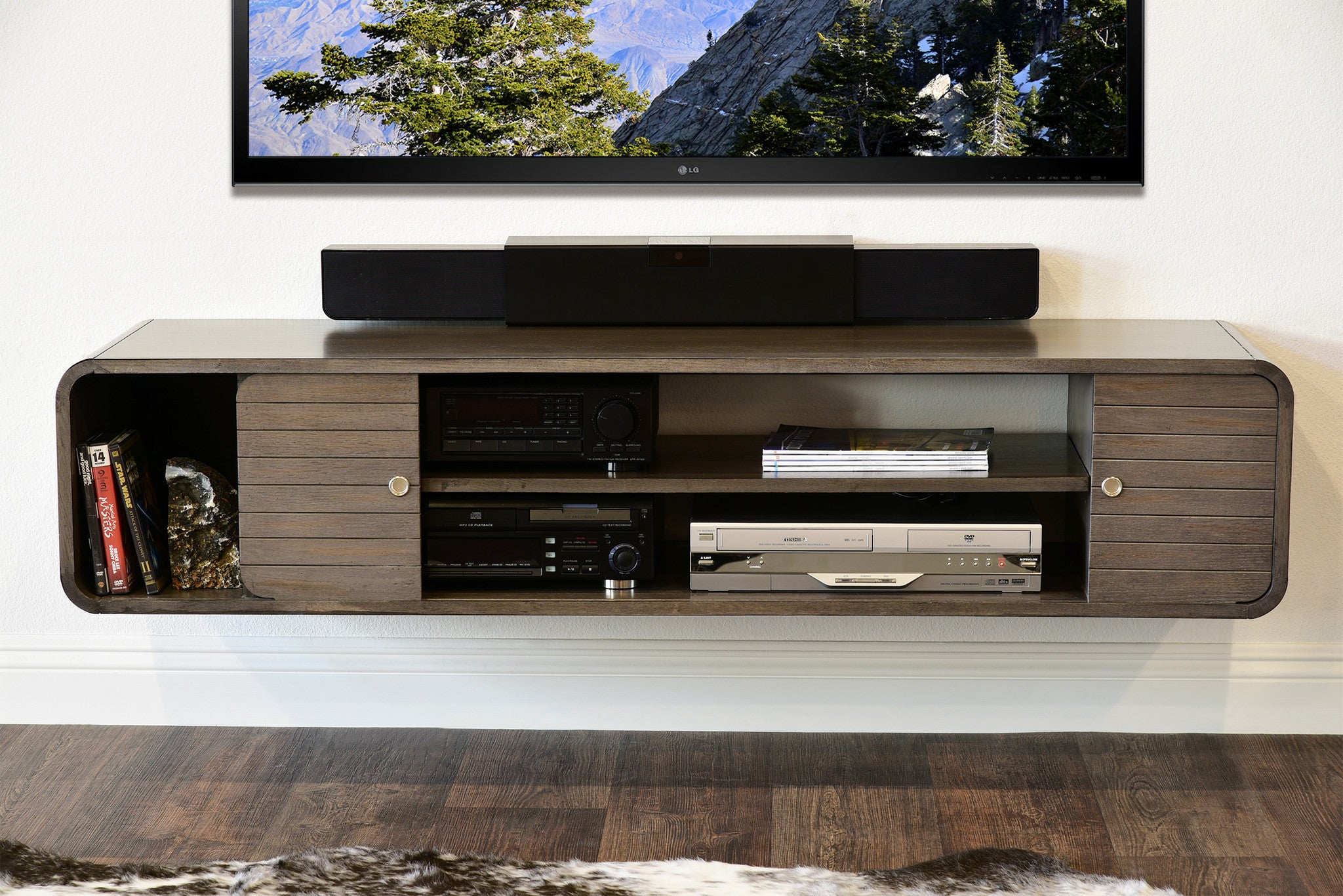floating tv stand living room furniture curved floating tv stand radius driftwood gray 24467