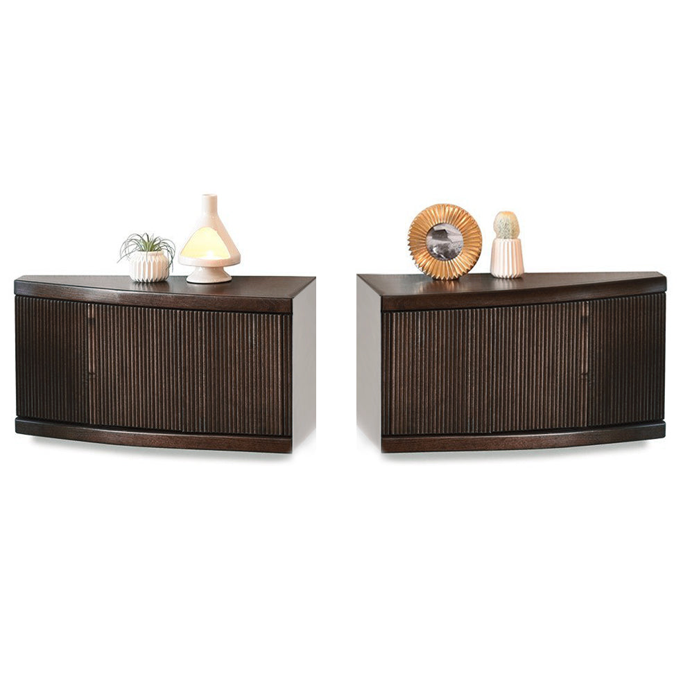 Merveilleux Pair Of Slim Curved Floating End Tables Wall Mount Nightstands   Arc    Espresso