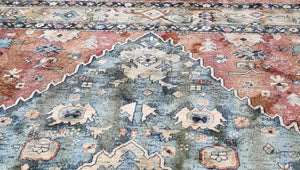 Light Blue and Orange Copper Rust Indian Pattern Rug