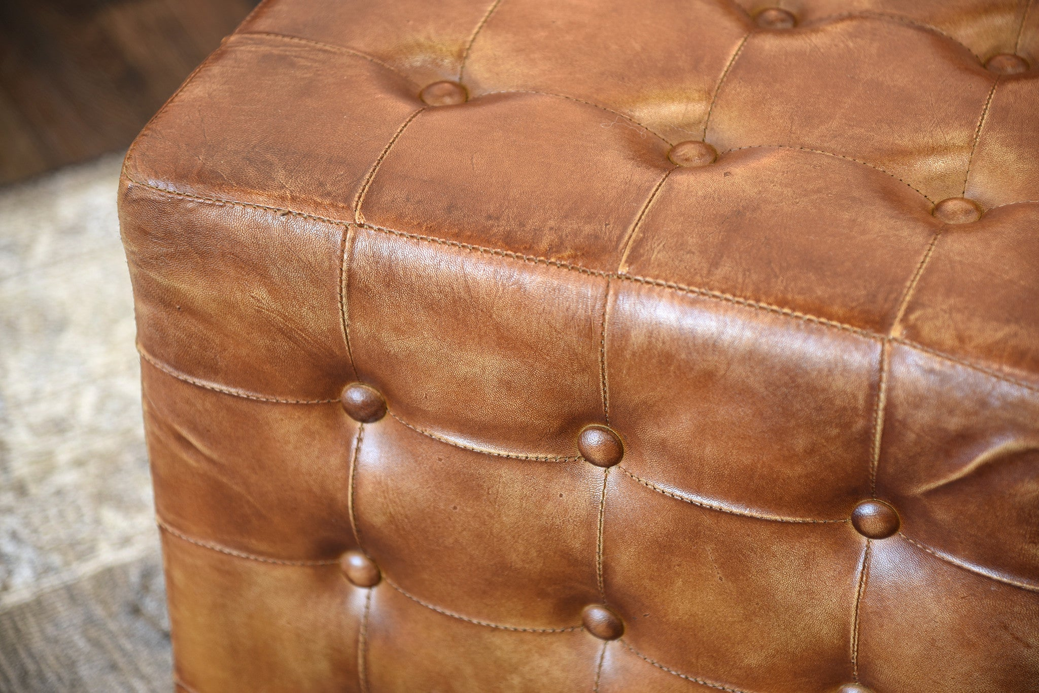 Brown Distressed Leather Ottoman Woodwaves