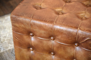 Brown Distressed Leather Ottoman