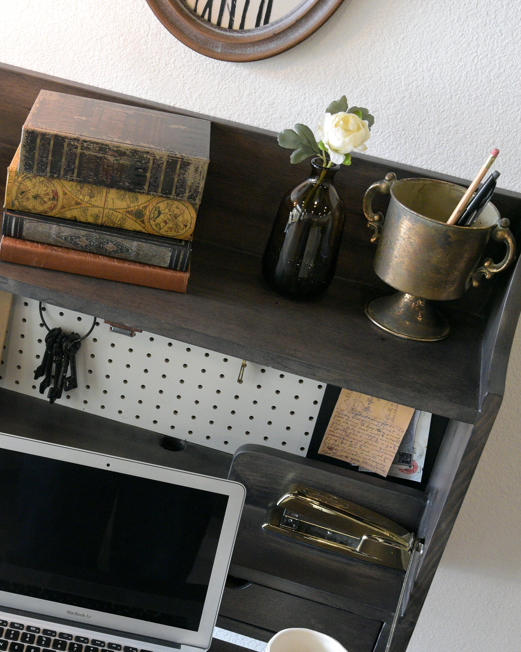 Gray Floating Desk Wall Mount Fold Down Craft Table Workstation - Pewter - Monterey