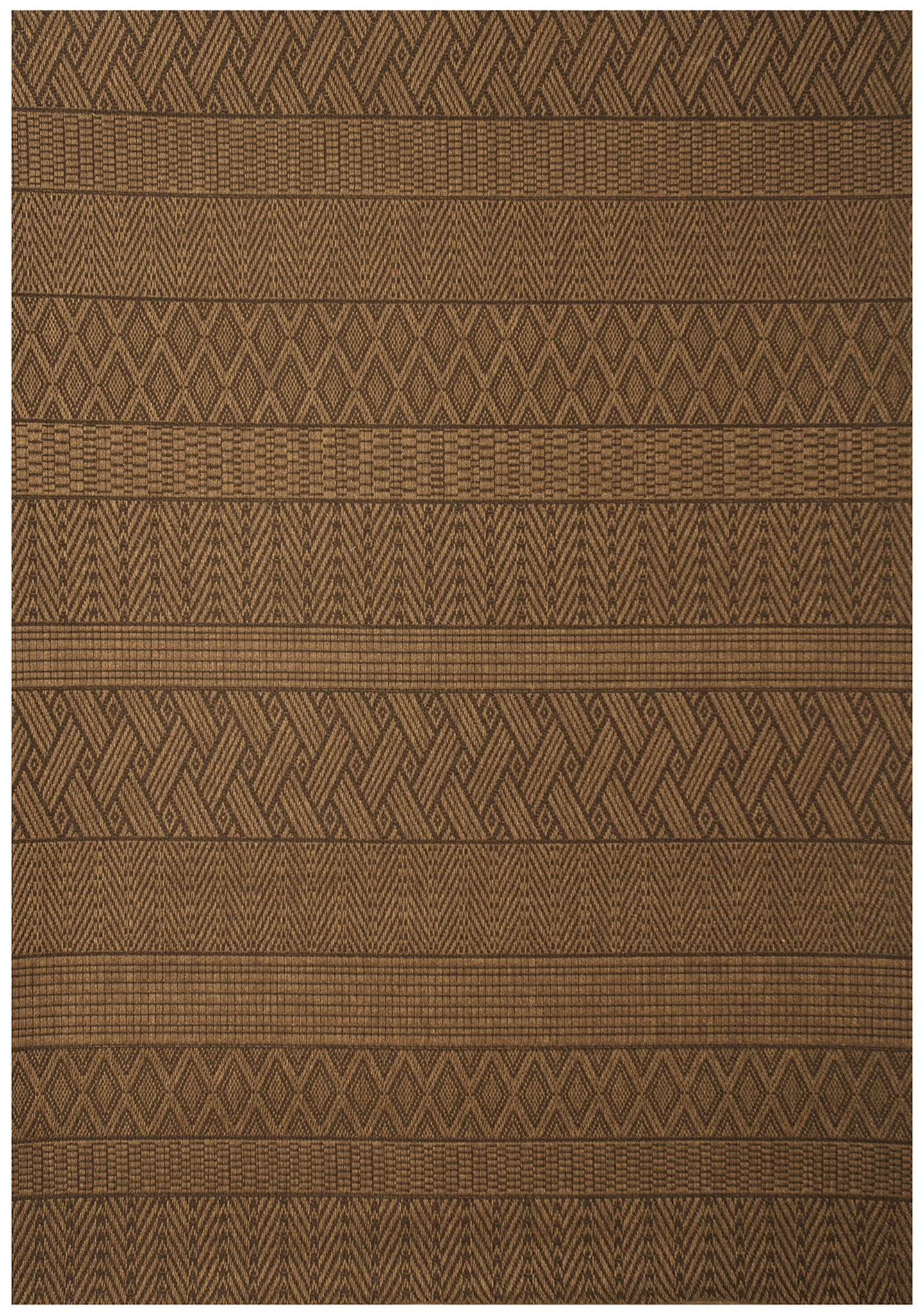 Modern Brown and Tan Multi-Pattern Indoor / Outdoor Rug - Woodwaves