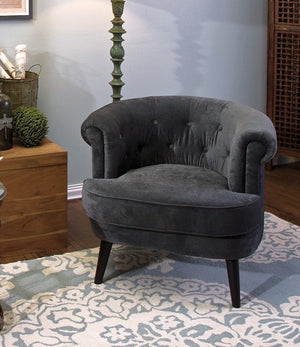 Dark Gray Tufted Club Accent Chair