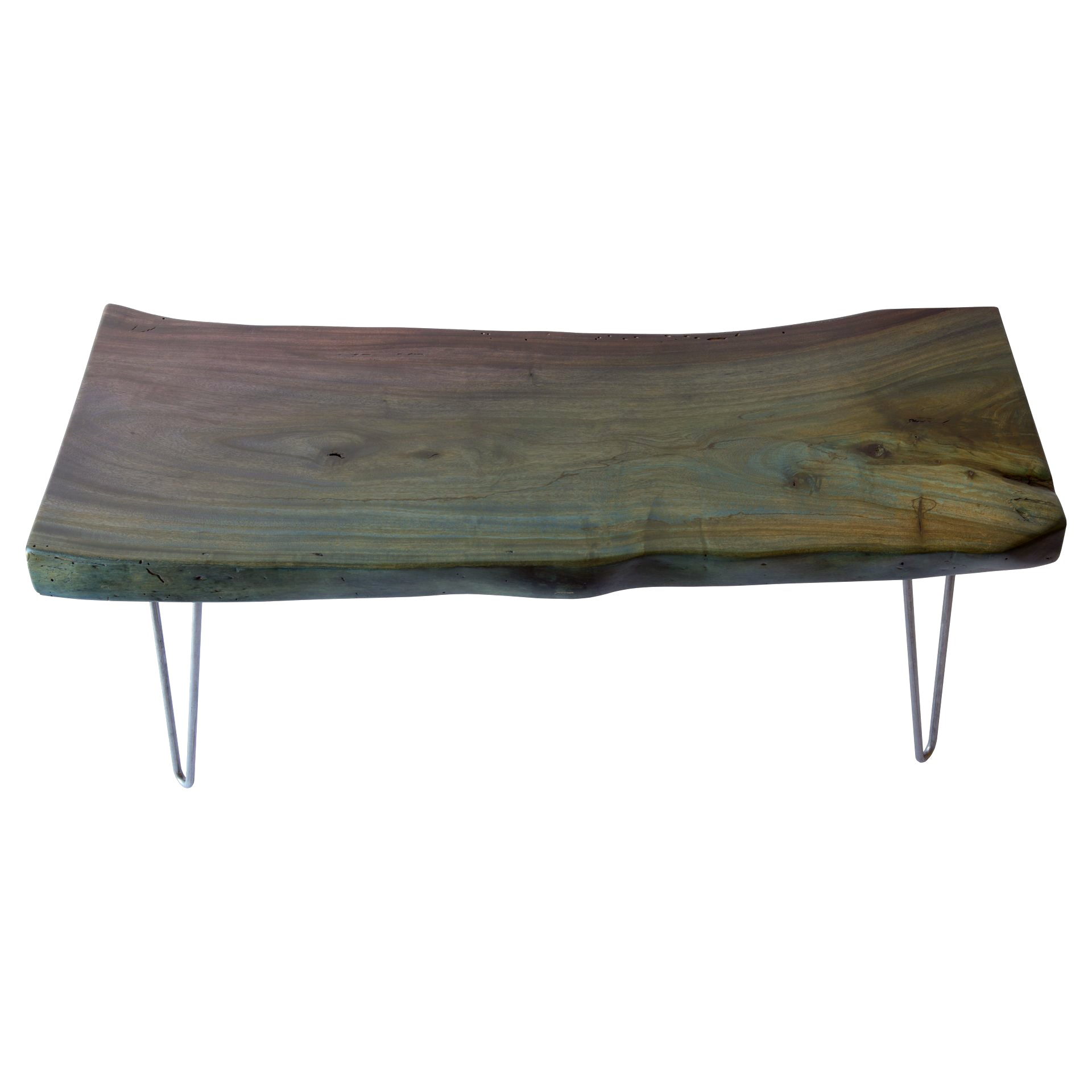 Teal and Maroon Live Edge Slab Reclaimed Wood Coffee Table