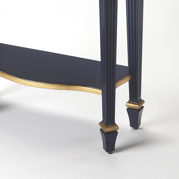 Dark Navy Blue Slim Narrow Entry Table With Gold Finish