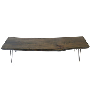Dark Rustic Wood Live Edge Slab Coffee Table
