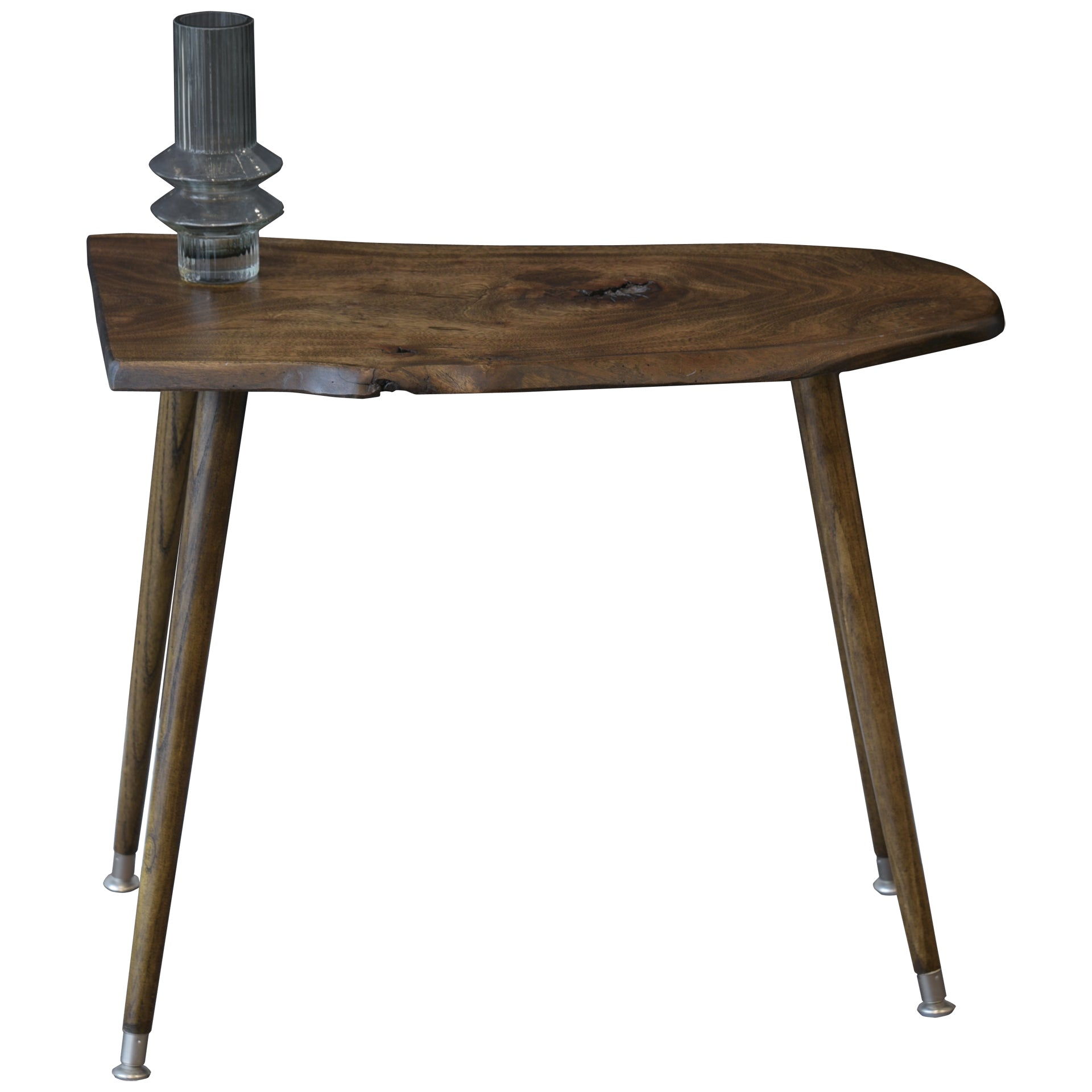 Dark Walnut Live Edge Slab Reclaimed Wood End Table