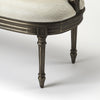 French Chic Upholstered Gray Entry Bench