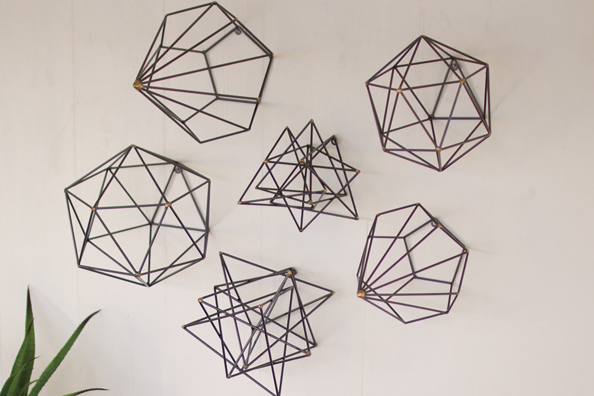 Wire Wall Art geometric metal wire wall art - set of 6 - woodwaves