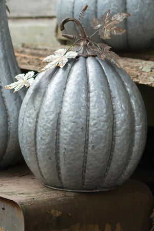 Small Galvanized Metal Pumpkin Halloween Fall Decoration