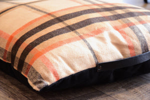 Orange Brown Plaid Floor Pillow Cushion With Handle