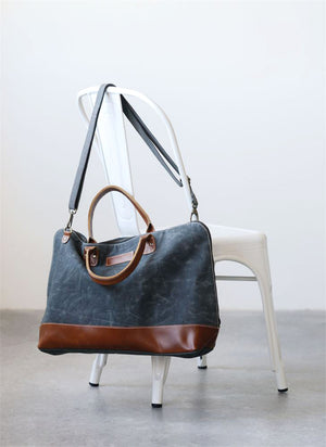Distressed Gray Canvas Weekender Overnight Travel Bag With Leather Trim