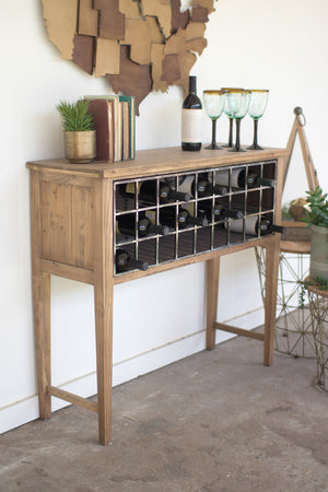 Rustic Wood Wine Rack Storage Cabinet