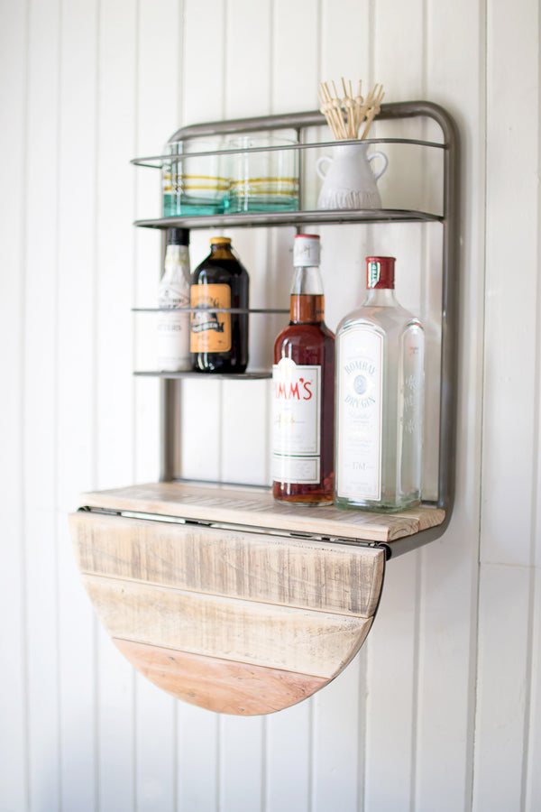 Space Saving Drop Leaf Wall Mount Floating Mini Bar