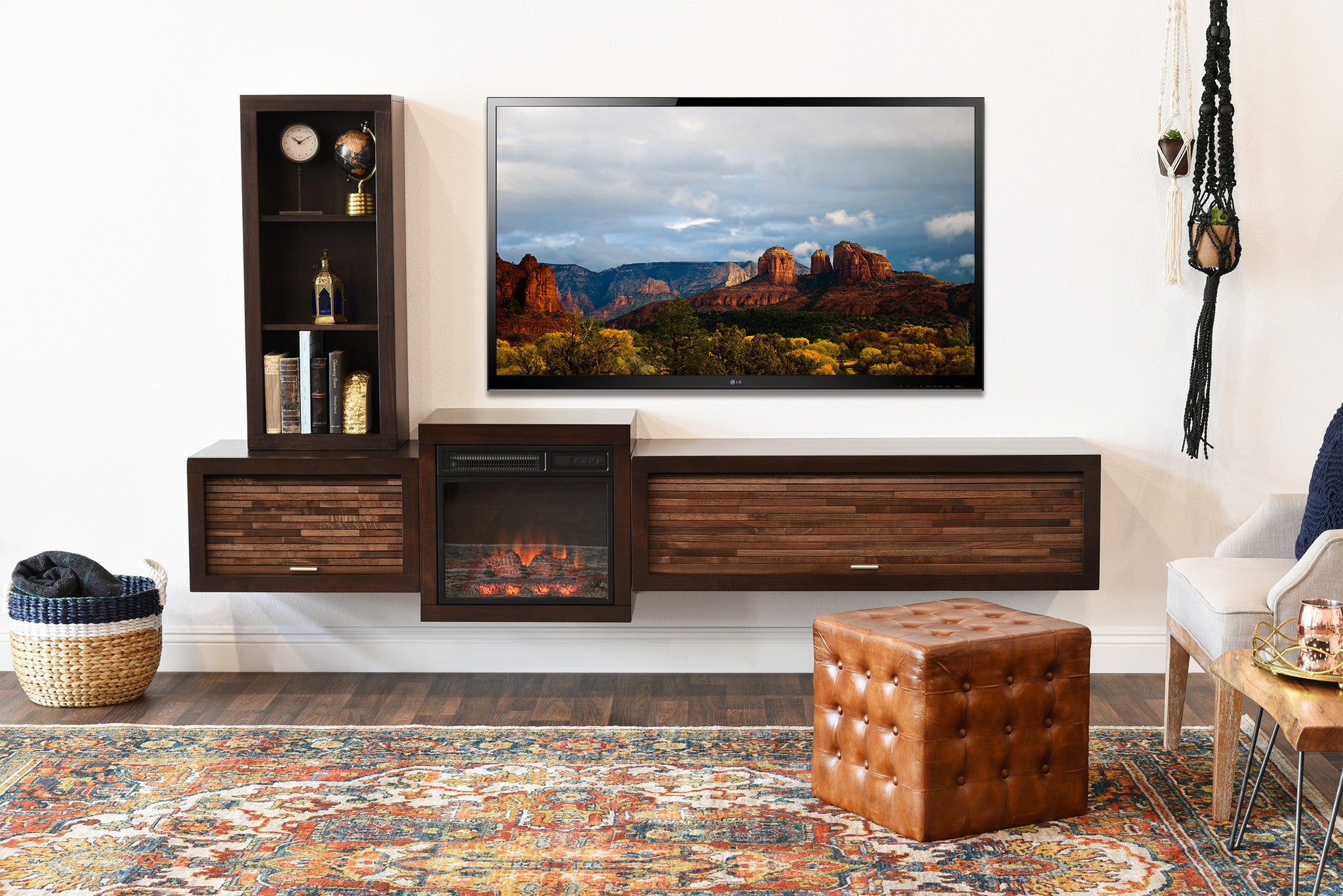 Floating TV Stand With Fireplace - ECO GEO Espresso - Woodwaves