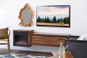 Wall Mount Fireplace Floating TV Stand - ECO GEO Mocha