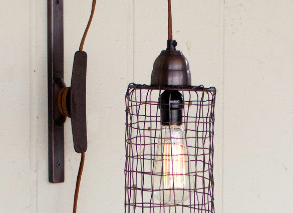 new products 32ac4 aec7d Industrial Modern Edison Cage and Pulley Plug In Wall Sconce