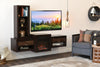 Floating Wall Mount TV Stand With Fireplace and Bookcase - ECO GEO Espresso