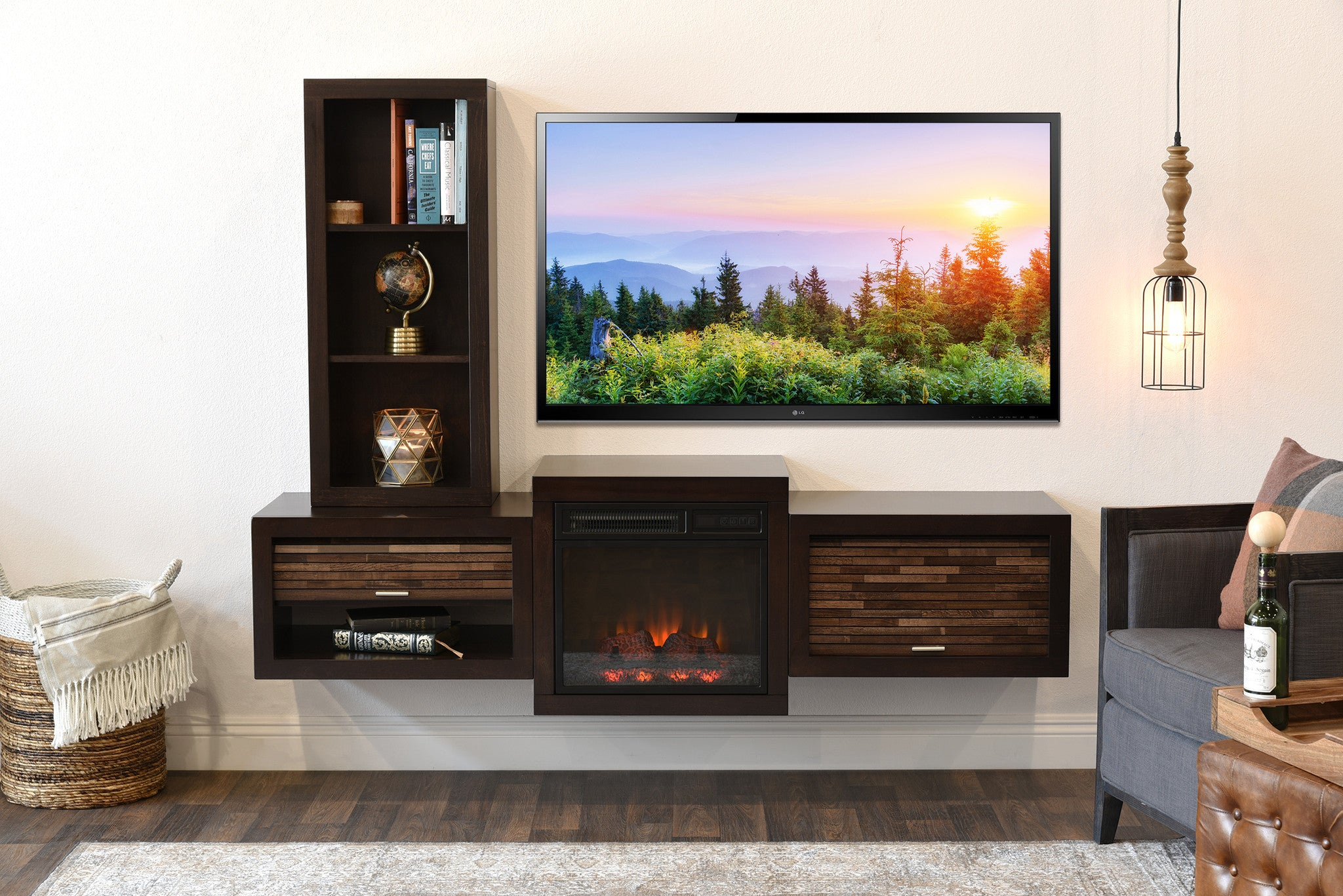 Floating Wall Mount Tv Stand With Fireplace And Bookcase Eco Geo Esp Woodwaves