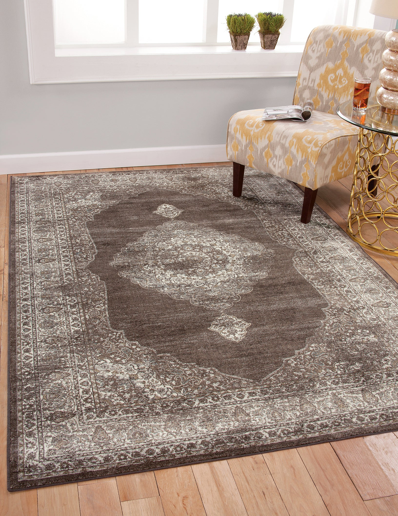 Faded Gray Worn Overdyed Style Persian Rug