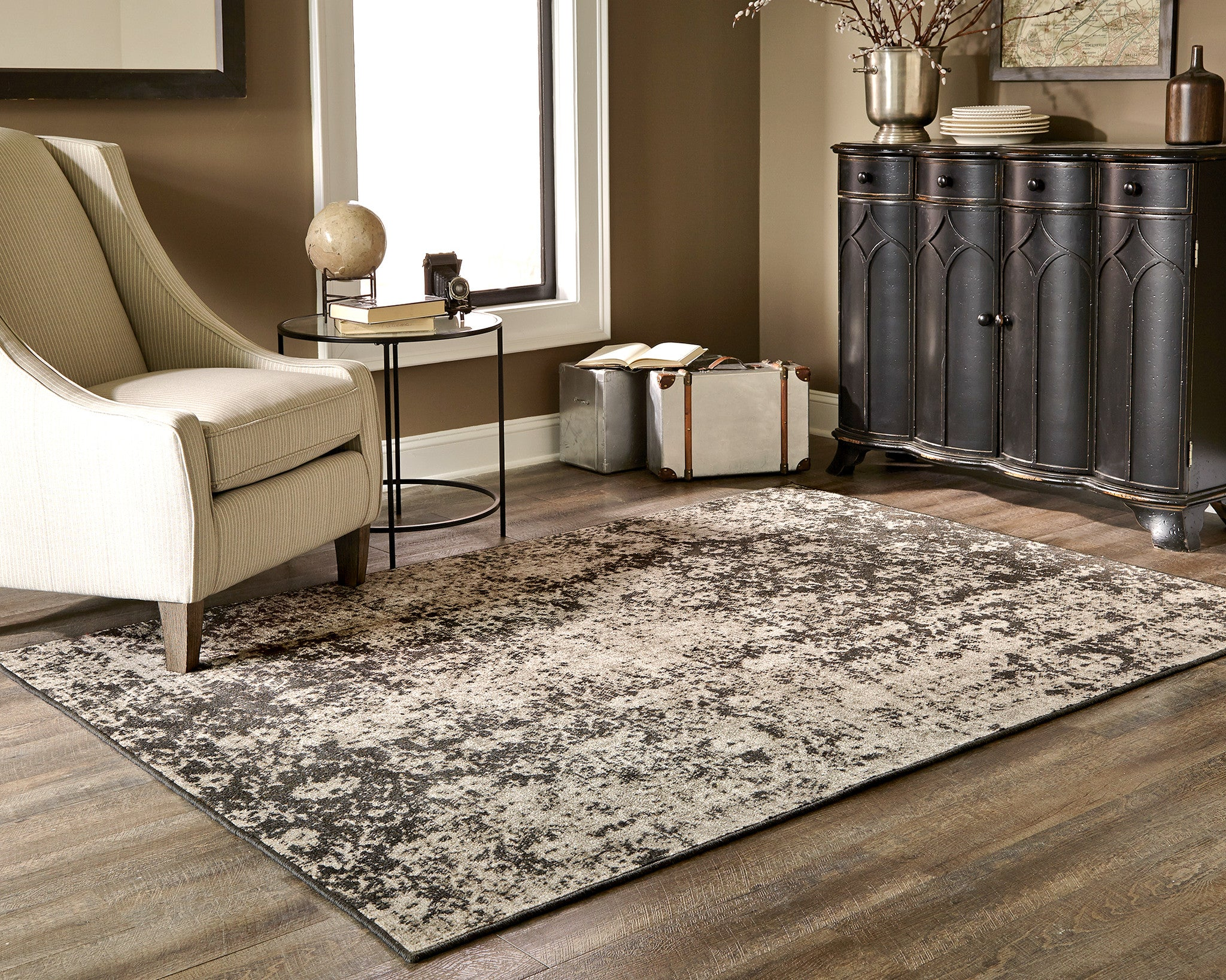 Black And Gray Worn Overdyed Style Rug