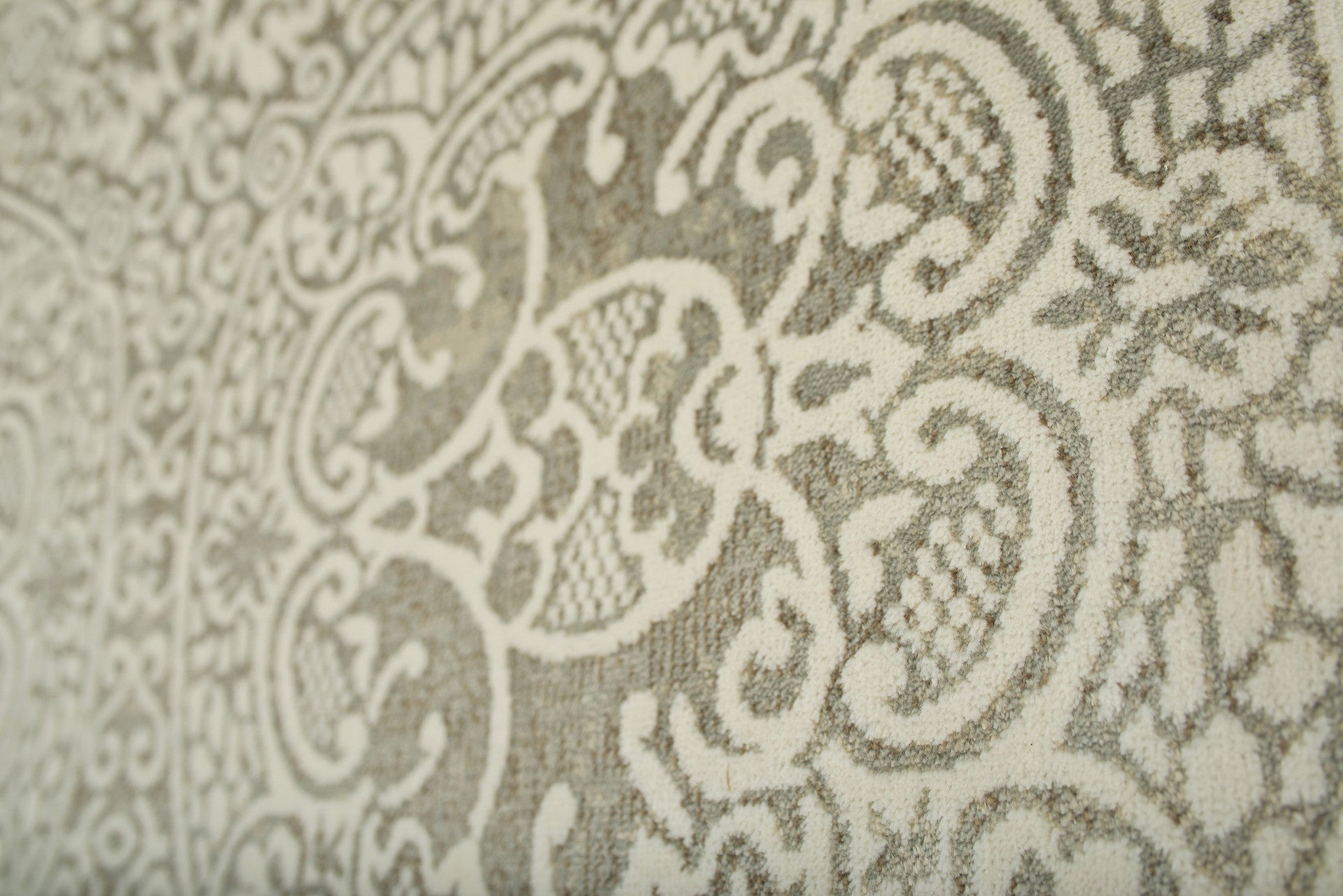 Faded Silver Gray and Ivory Transitional Fringe Rug Woodwaves