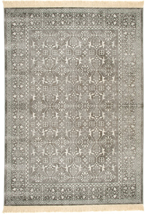 Faded Silver Gray and White Worn Persian Style Fringe Area Rug