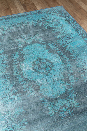 Faded Teal Blue Overdyed Vintage Style Rug