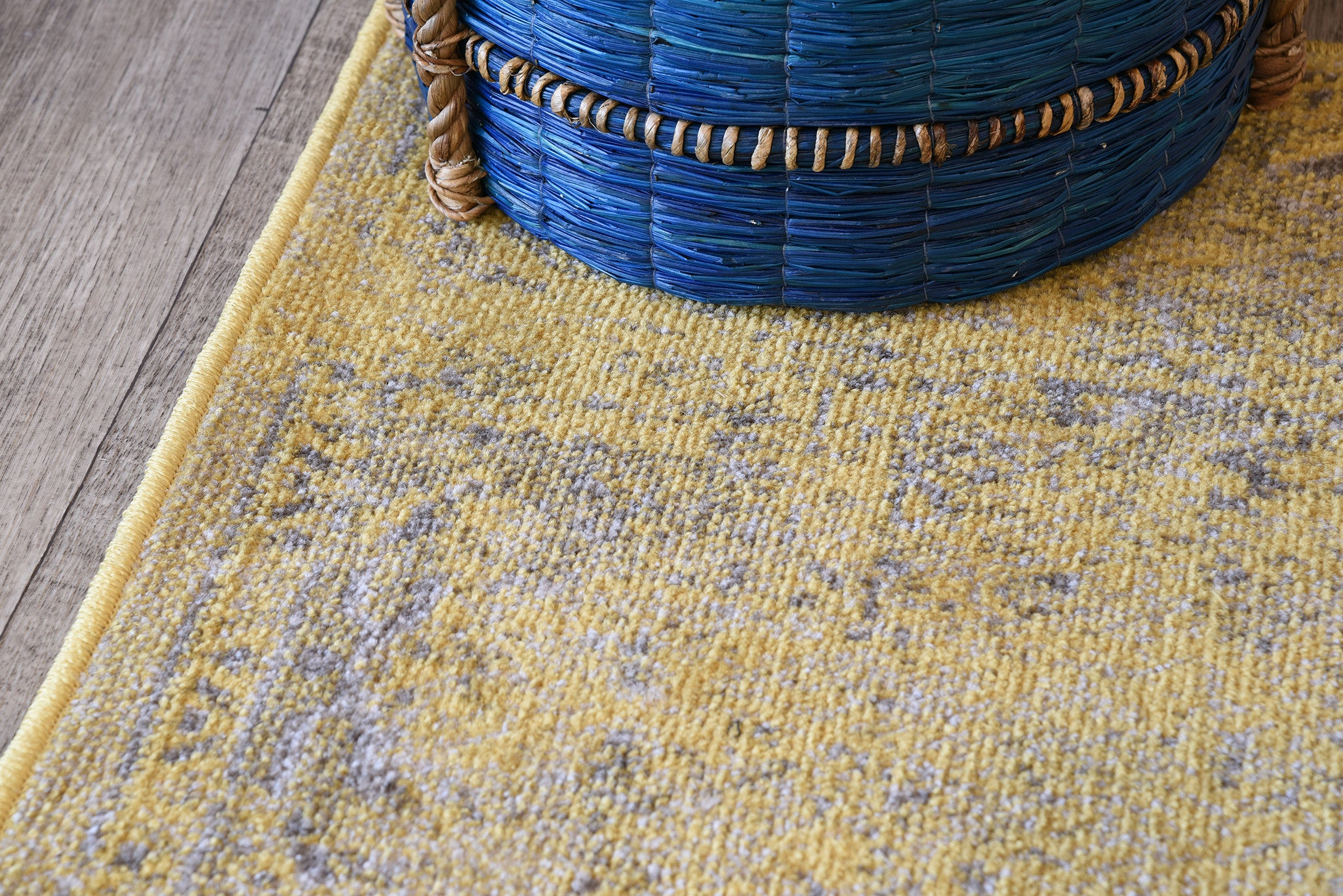 Faded Yellow Overdyed Rug Woodwaves