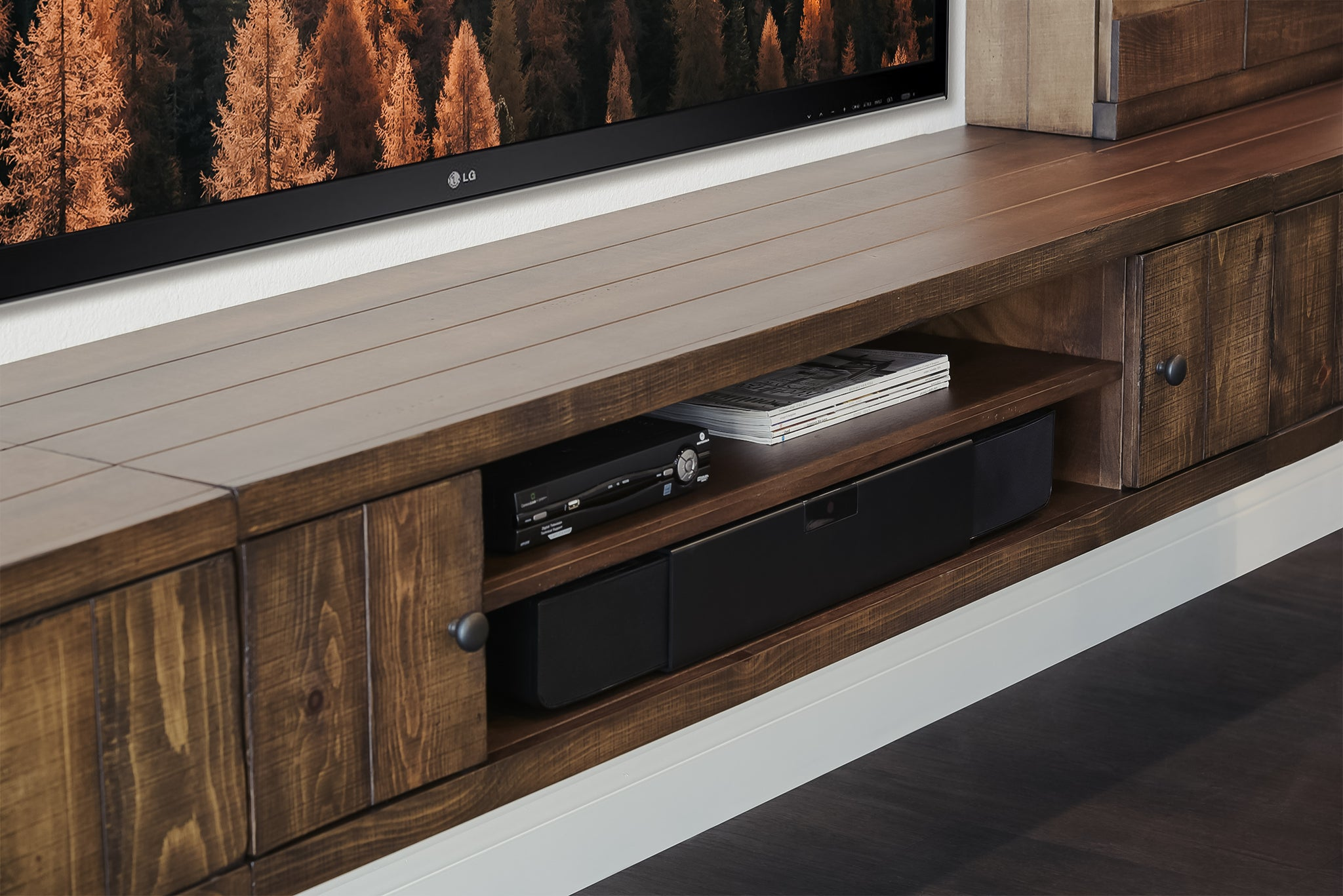 Rustic Farmhouse Barn Door Floating Entertainment Center TV Stand - Spice