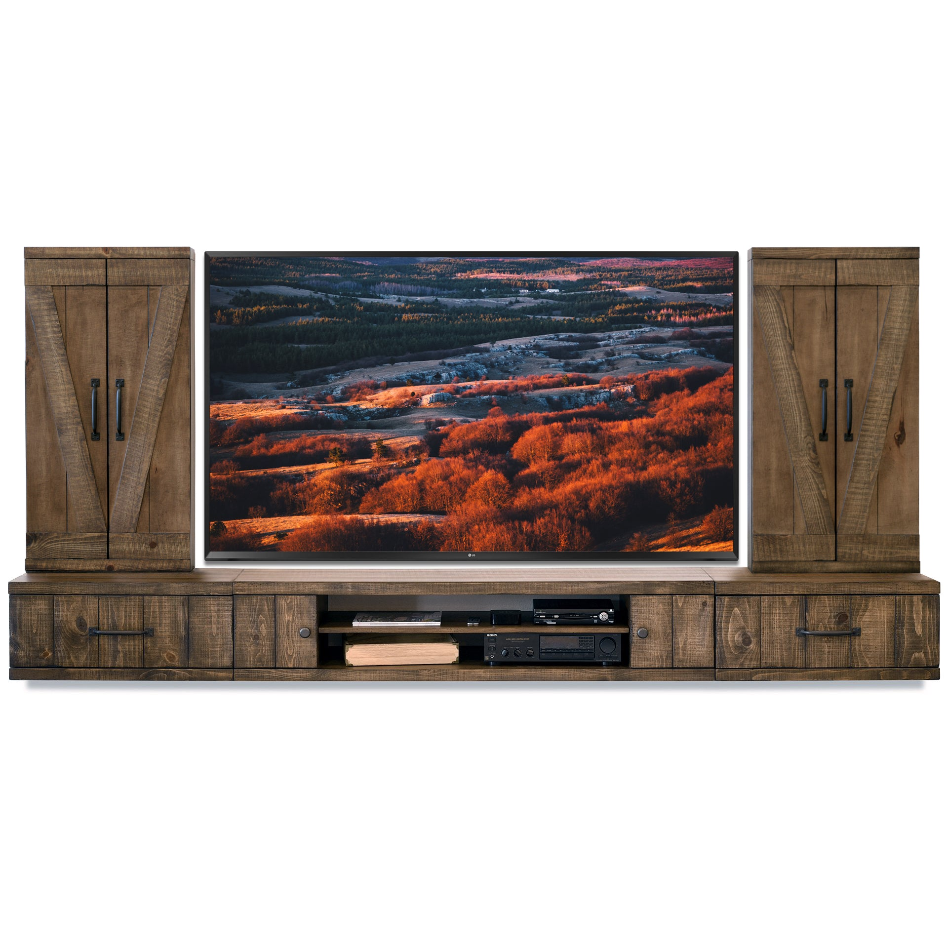 Rustic Farmhouse Barn Door Floating TV Stand Entertainment Center Console - Spice