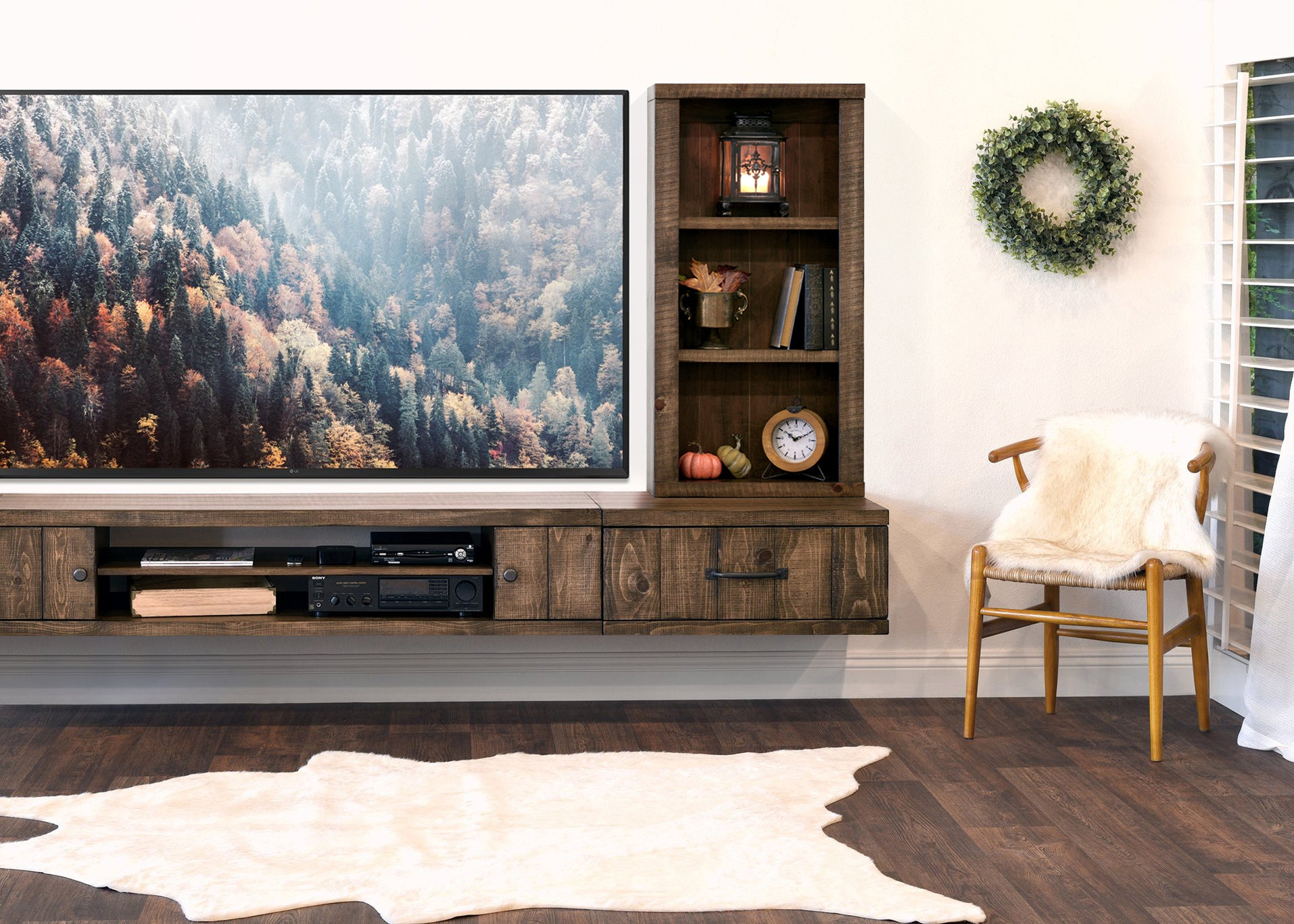 Farmhouse Floating TV Stand Wall Mount Entertainment Center - Spice
