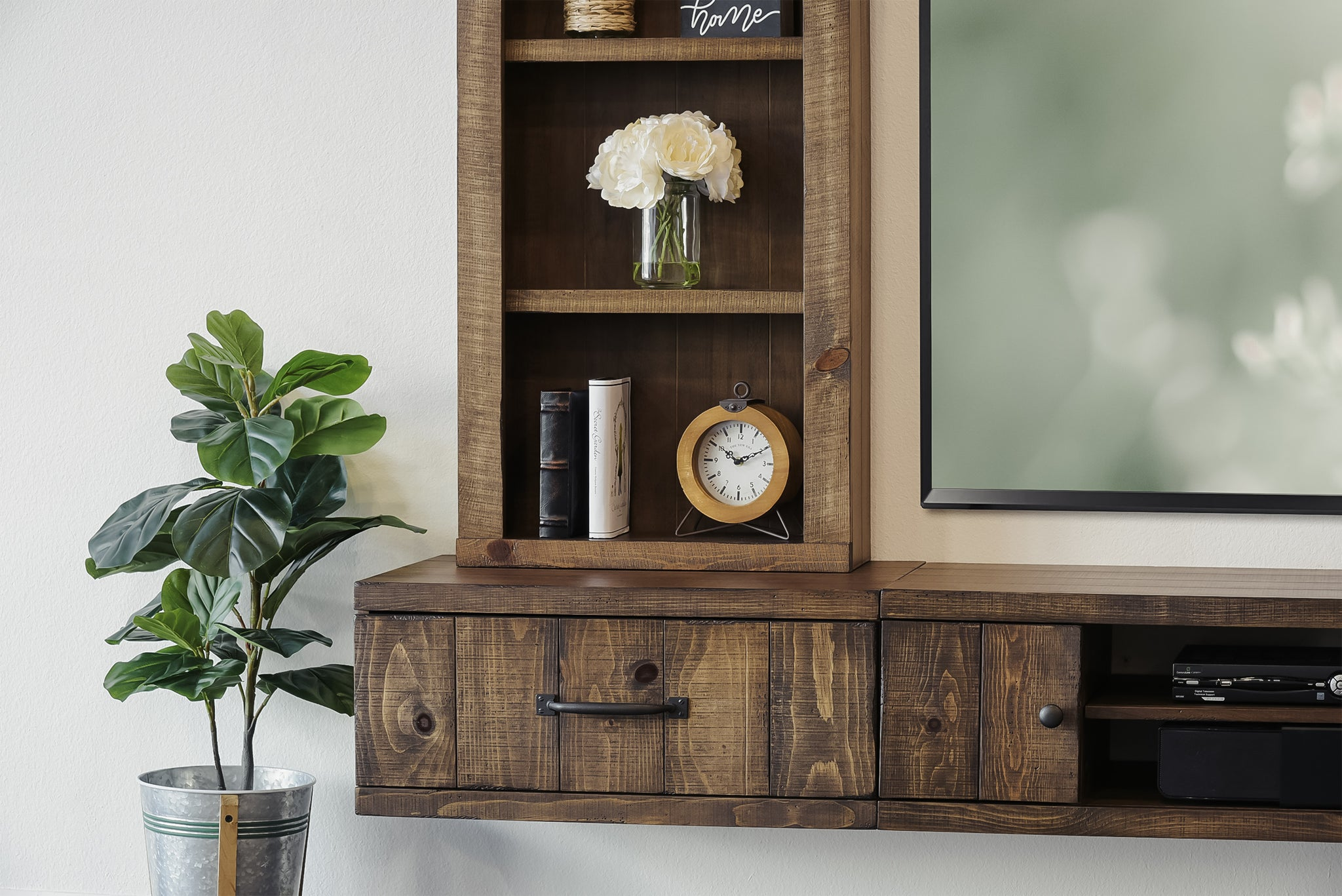 Rustic Farmhouse Floating TV Stand Entertainment Center Console - Spice