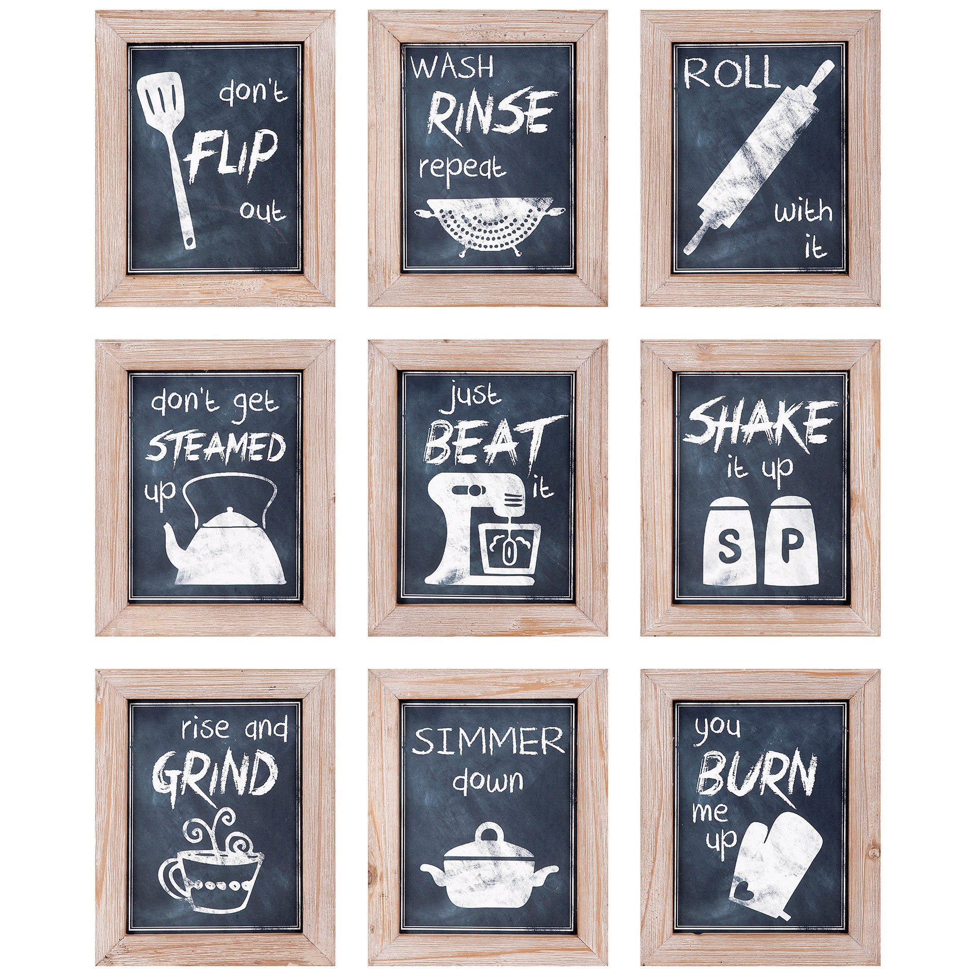 Farmhouse Industrial Modern Kitchen Chalkboard Style Wall Art - Set of 9