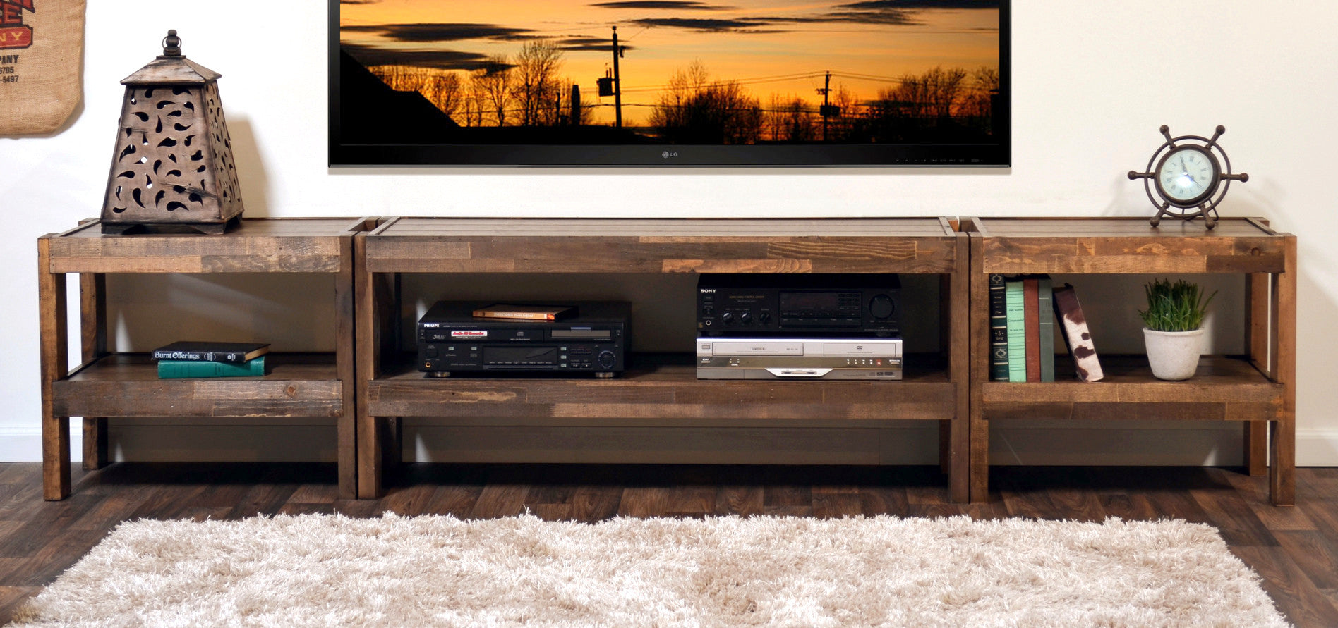 Gentil Rustic Reclaimed TV Stand Entertainment Center   PresEARTH Spice