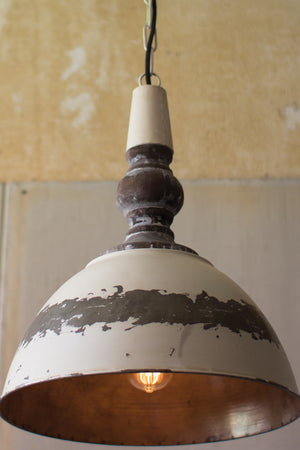 Farmhouse Pendant Chandelier With Rustic White Paint Patina