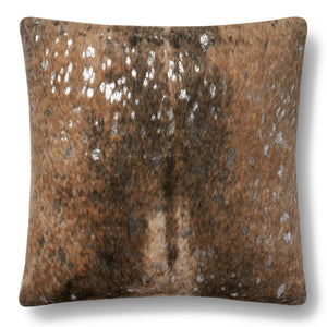Brown and Tan Faux Cowhide Pillow With Silver Color Accents