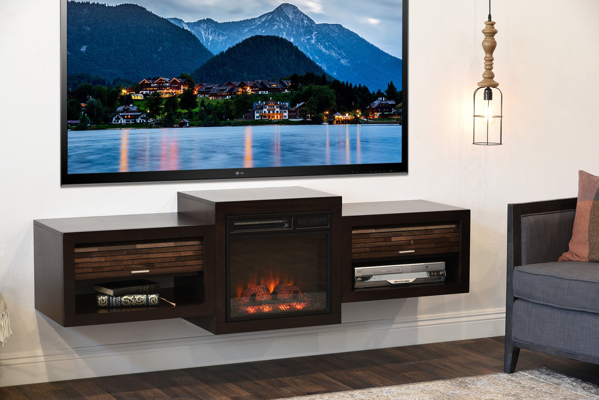 Fireplace Tv Stand For 60 To 70 Tv Eco Geo Espresso Woodwaves